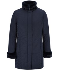 Cc Longline Fur Trim Quilted Coat Navy