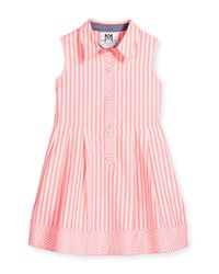 Milly Minis Sleeveless Striped A Line Shirt Pink