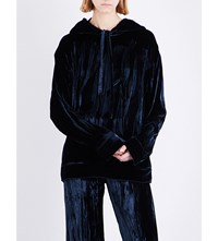 Sharon Wauchob Creased Velvet Hoody Navy
