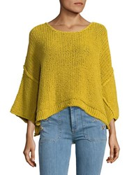 Free People Halo Open Knit Sweater Yellow