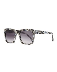 Prism Milan Printed Square Sunglasses Black White