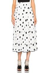 Oscar De La Renta Spot Print Full Skirt In White Geoemtric Print