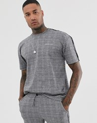 Good For Nothing Co Ord Oversized T Shirt In Prince Of Wales Check Grey