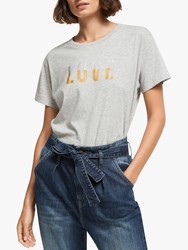 And Or Love Slogan T Shirt Grey