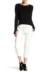 Lime And Vine Kay Ribbed Faux Suede Harem Pant White