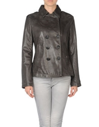 Le Sentier Leather Outerwear Grey