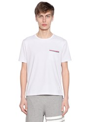 Thom Browne Cotton Jersey T Shirt W Striped Details