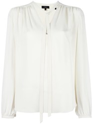 Theory Tie Neck Shift Blouse White
