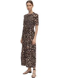 Baum Und Pferdgarten Adamaris Printed Silk Blend Midi Dress Leopard