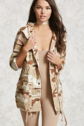 Forever 21 Camo Print Utility Jacket Dusty Pink Brown