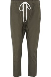 Bassike Cotton And Linen Blend Pants Army Green