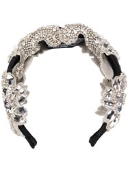 Dolce And Gabbana Crystal Embellished Head Band Silver