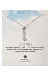 Women's Dogeared 'Love Gem' Tassel Chain Pendant Necklace Labradorite Silver