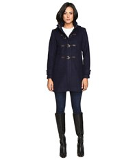 Vince Camuto Sherpa Hood Toggle Closure Wool Coat L8311 Navy Women's Coat