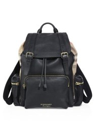 Burberry Leather Drawstring Backpack Black