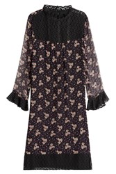 Anna Sui Printed Silk Dress With Lace Multicolor