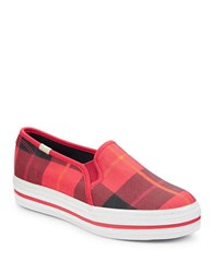 Kate Spade Plaid Canvas Sneakers Red