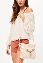 Missguided Nude Chain Lock Cross Body Bag
