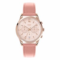 Henry London Ladies 39Mm Shoreditch Chronograph Leather Watch Rose Gold Neutrals