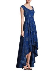 Laundry By Shelli Segal Platinum Jacquard Hi Low Gown Midnight