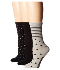 Steve Madden 3 Pack Pattern Crew Socks Black Dot Stripe Women's Crew Cut Socks Shoes