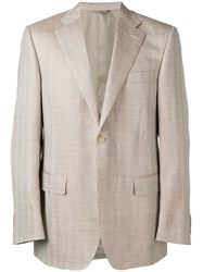 Canali Checkered Effect Blazer Neutrals