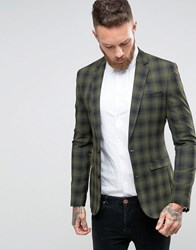 Asos Super Skinny Blazer In Green Check Khaki