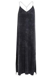 Amiri Woman Open Back Chain Embellished Washed Silk Midi Slip Dress Anthracite