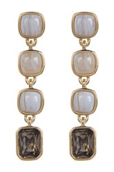 Cole Haan Semi Precious Stone Linear Drop Earrings Metallic