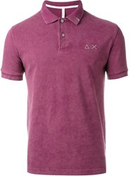 Sun 68 Washed Colour 'Super Vintage' Polo Shirt Pink And Purple