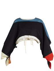 Chloe Cut Out Sleeve Twill Cropped Top Navy Multi