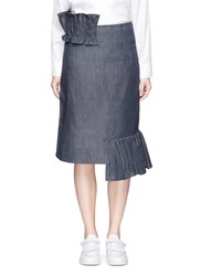 Shushu Tong Ruffle Trim Irregular Hem Denim Skirt Blue