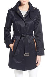 Women's Jones New York Faux Suede Trim Trench Coat Topside Navy