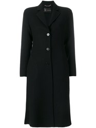 Versace Slim Single Breasted Coat Cupro Viscose Wool Black