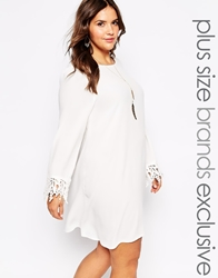 Alice And You Swing Dress With Crochet Sleeves Cream