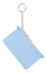 Smythson Women's Calfskin Leather Zip Pouch With Key Ring Blue Nile Blue