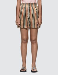 Burberry Icon Stripe Silk Shorts Beige