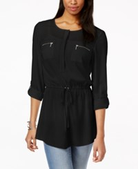 Inc International Concepts Zipper Pocket Button Front Tunic Top Only At Macy's