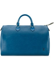 Louis Vuitton Vintage Speedy 35 Tote Blue