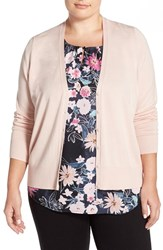 Plus Size Women's Sejour V Neck Cardigan Pink Peach