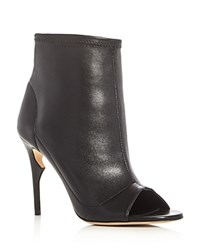 Jerome C. Rousseau Clothilde Peep Toe High Heel Booties Black