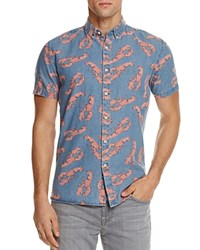 Barney Cools Lobster Chambray Slim Fit Button Down Shirt Denim