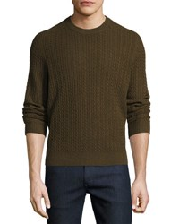 Neiman Marcus Cable Knit Cashmere Crewneck Sweater Green