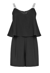 Hallhuber Playsuit With Embroidered Straps Black