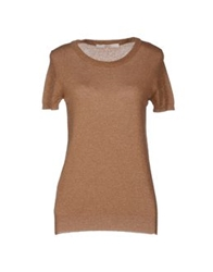 Jucca Short Sleeve Sweaters Camel