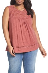 Caslonr Plus Size Women's Caslon Lace Trim Cotton Tank Red Jelly