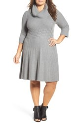 Eliza J Cowl Neck Fit And Flare Sweater Dress Plus Size Gray