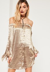 Missguided Gold Shiny Satin Bardot Button Dress