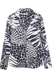 Equipment Adalyn Animal Print Washed Silk Shirt Midnight Blue