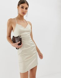 Na Kd Satin Lace Back Dress In Oyster Brown